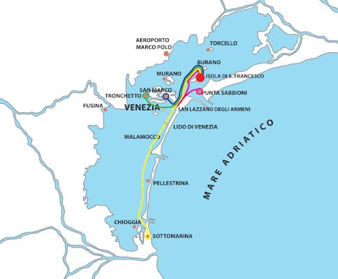 mappa-tour-san-lazzaro-degli-armeni-burano-san-francesco-del-deserto-raffaello-navigazione