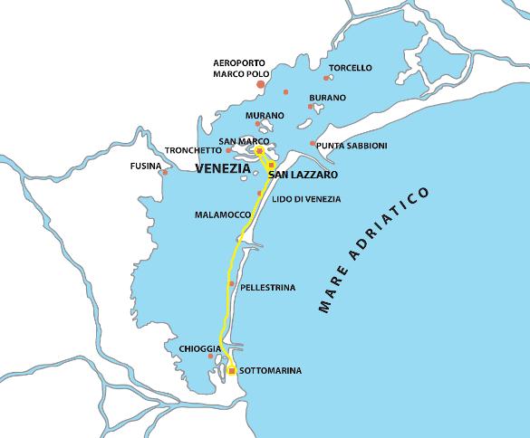 Mappa escursione sottomarina venezia san lazzaro di Raffaello Navigazione